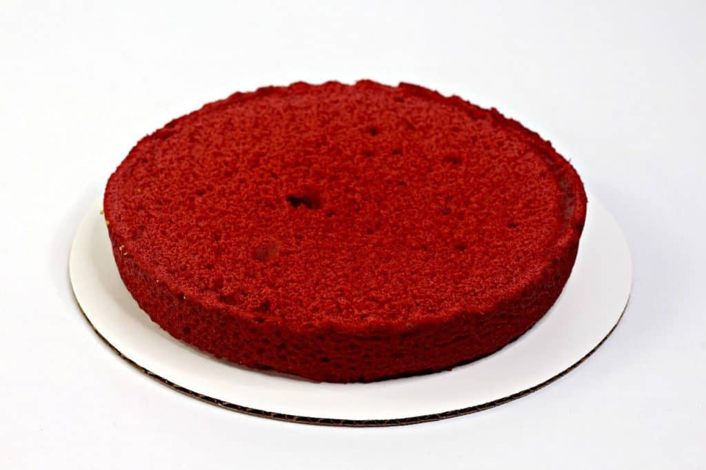 red layer of cake