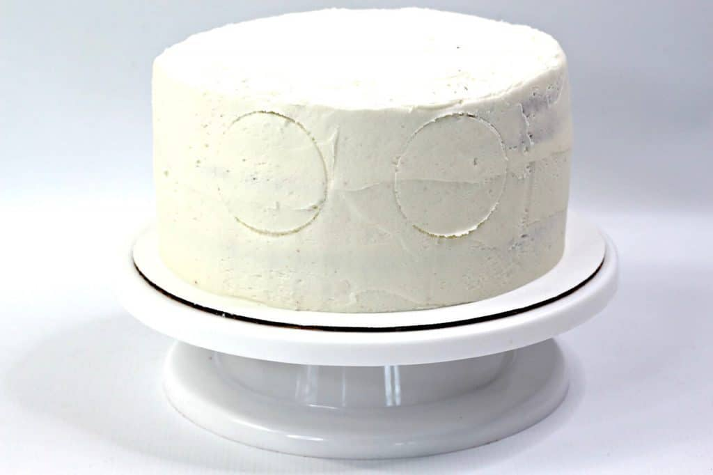 cake with 2 circles engraved in.