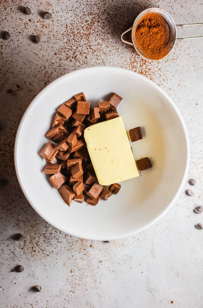 bowl with chocolate cut up and butter