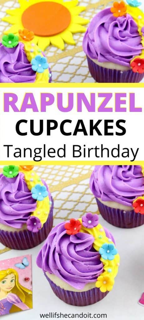 "Image of cupcakes texts reads ""rapunzel cupcakes tangled birthday"""