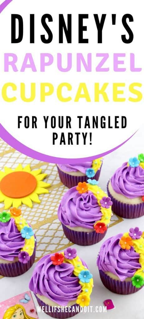 Disney's Rapunzel cupcakes for your tangled party.