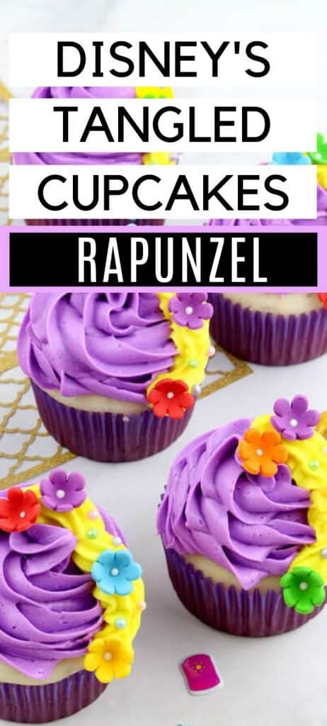 Disney's Tangled Cupcakes Rapunzel text with purple cupcake photo
