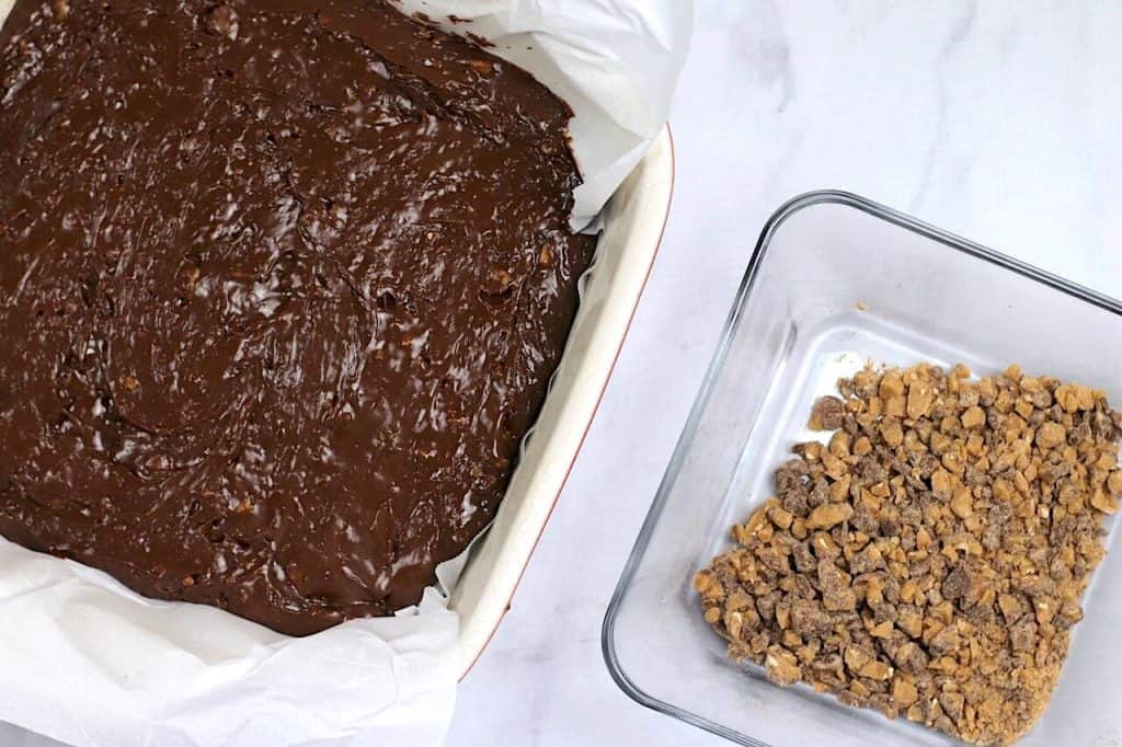 fudge in pan with heath topping