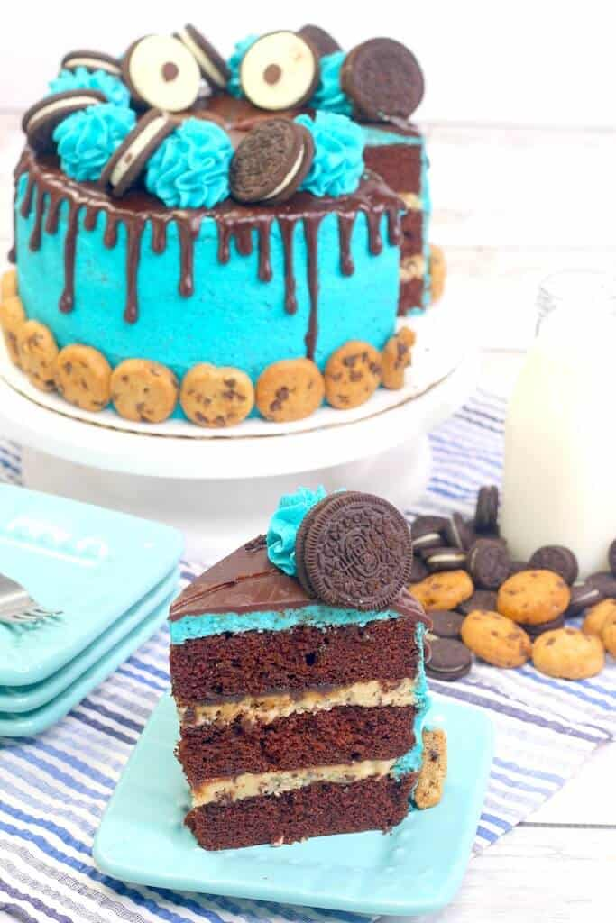Cookie Monster cake with slice in front