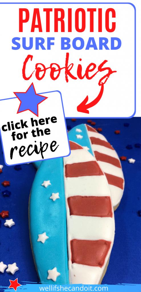 Patriotic Surf Board Cookies