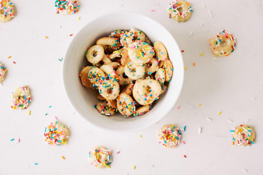 mini donuts in a cereal bowl