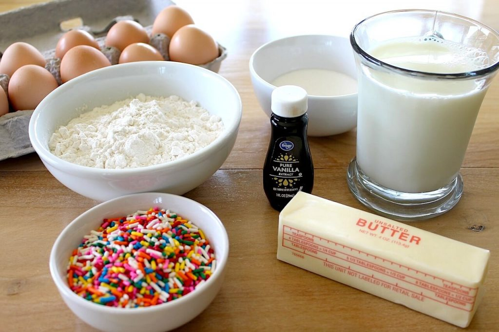 ingredients for baked funfetti donut