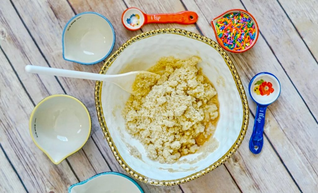 bowl with cookie dough ingredients