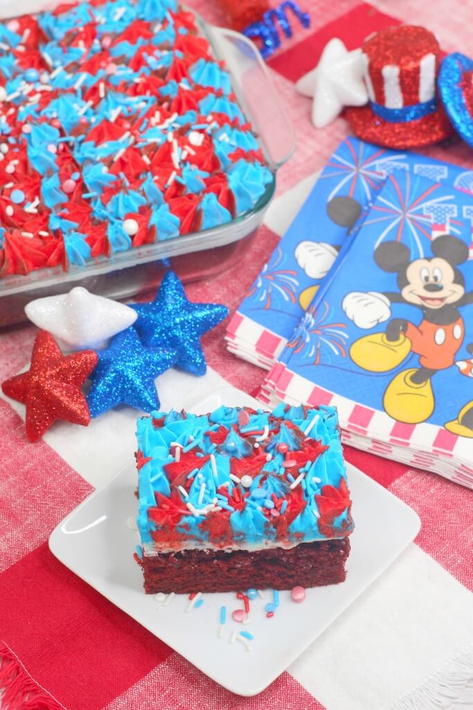 Sheet cake with firework frosting on top