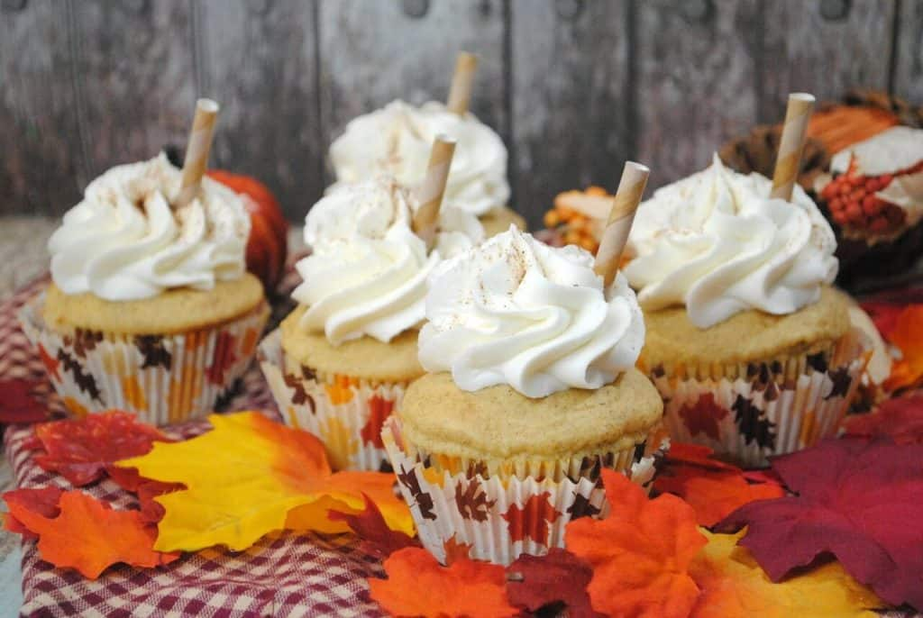 PSL Cupcakes with leaves around
