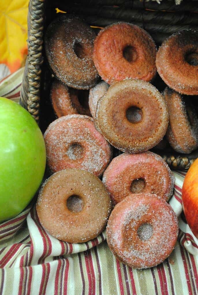 close up of apple cider donuts