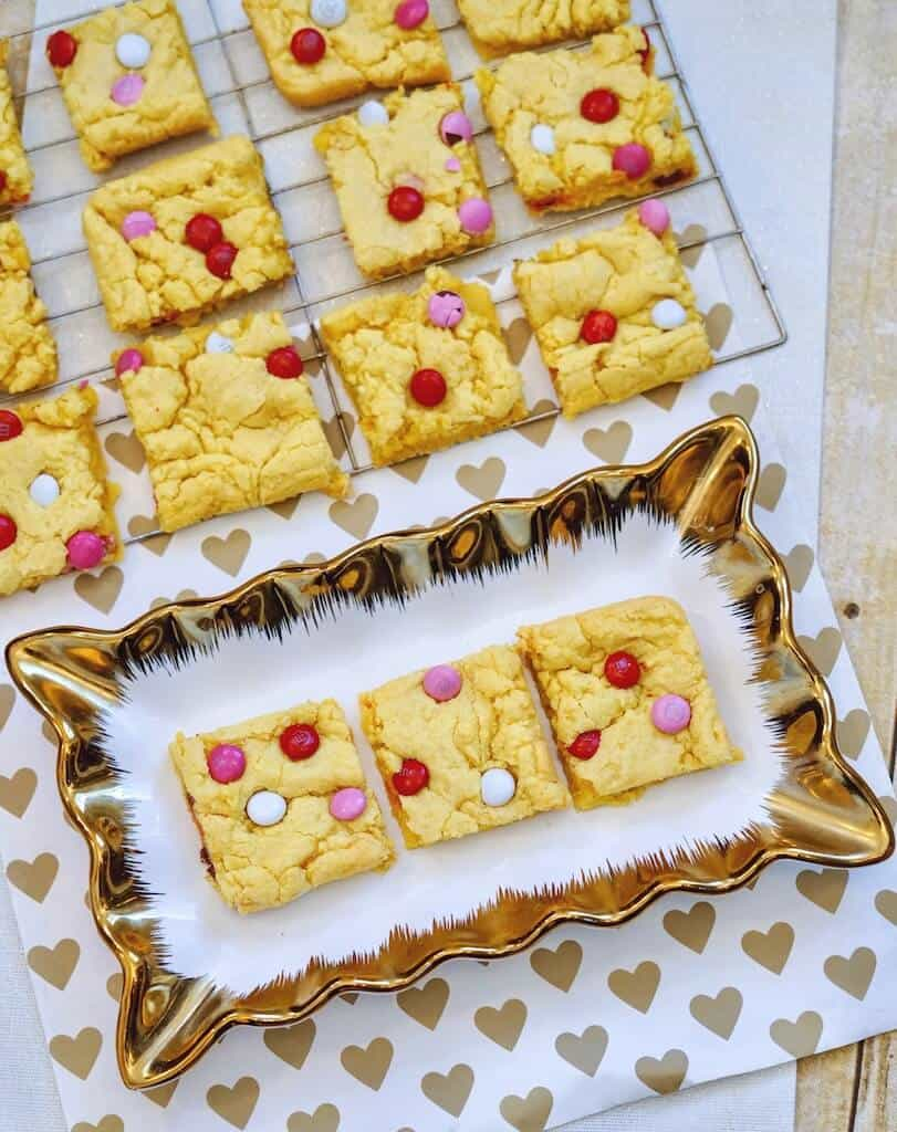 cut cookie bars on a plate