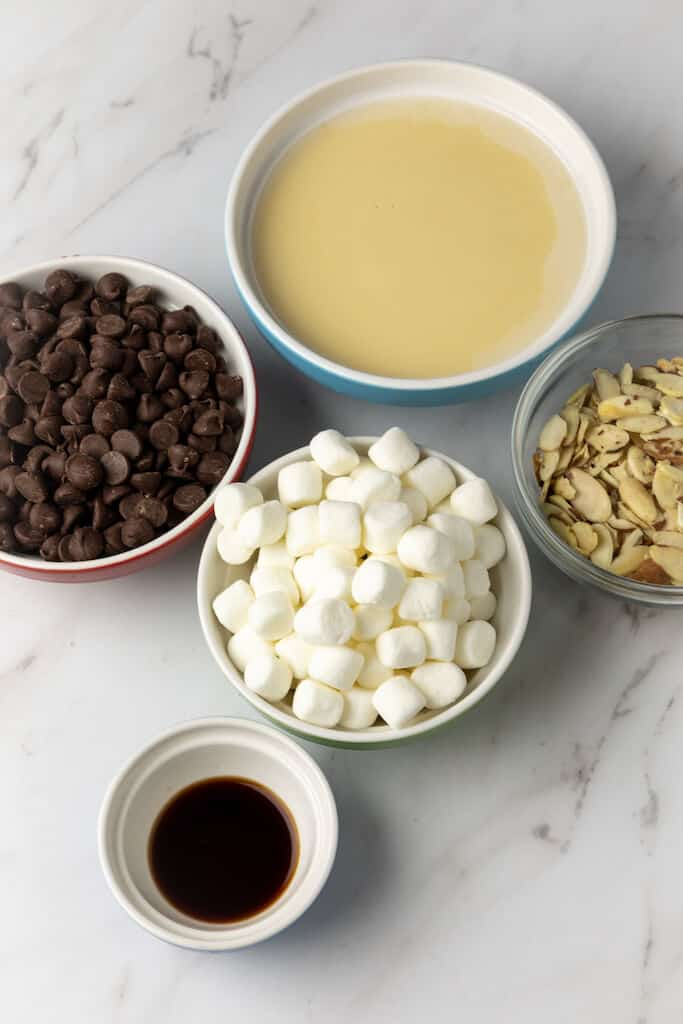 ingredients in bowls for rocky road fudge