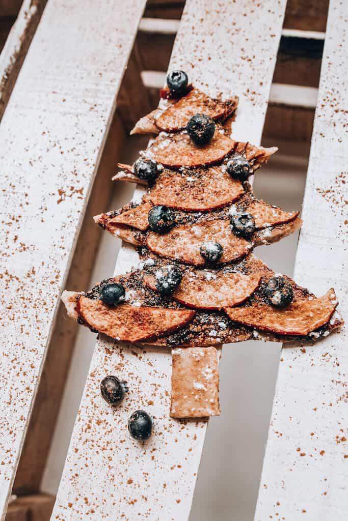 Blueberry Apple Pie Shaped like a Christmas Tree