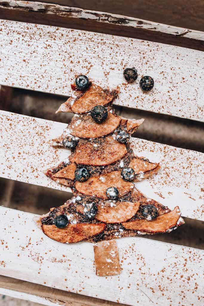 flat lay of Christmas tree pie
