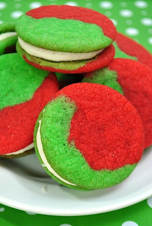 green and red Grinch cookie sandwiches