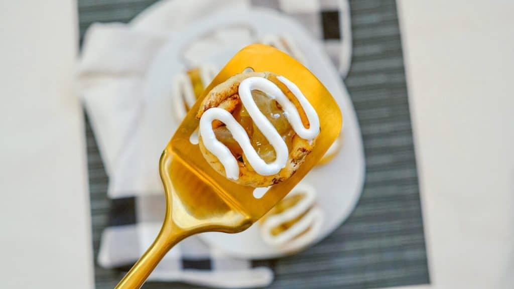 closeup of apple pie cup on spatula
