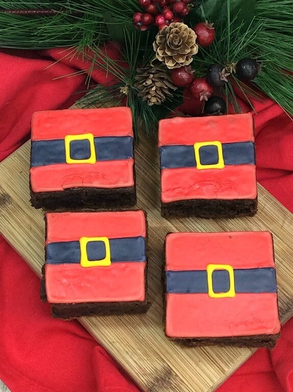 Brownies decorated as Santa belts