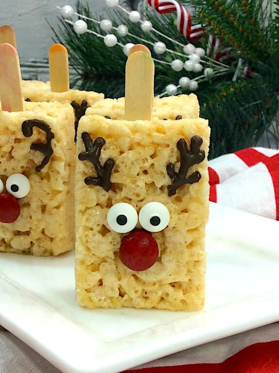 Rice Krispie Treats Decorated as a Reindeer