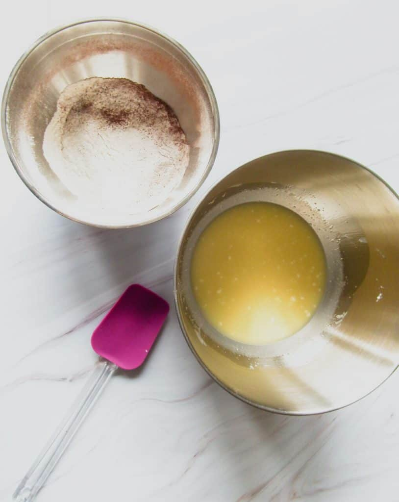 dry ingredients and wet ingredients in bowls