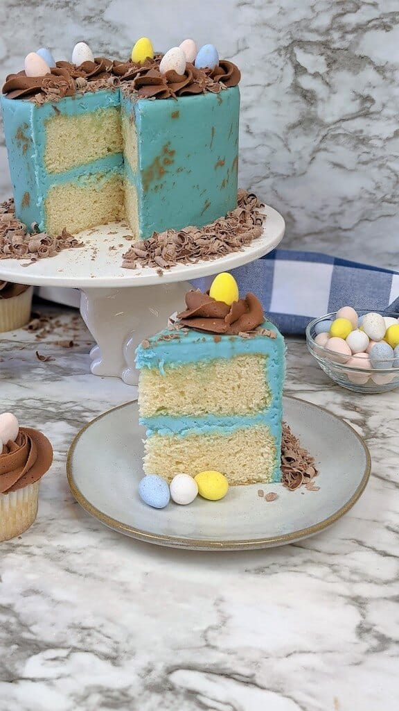 Slice of Easter egg Cake next to cake stand