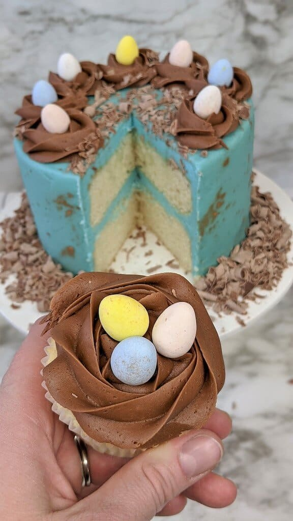 cupcake with robins eggs on top